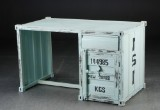 Desk, mint green-painted metal. Raw container look. Industrial design