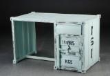 Desk, black-painted metal. Raw container look. Industrial design
