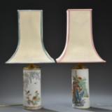 To kinesiske bordlamper af porcelæn, 1900-tallet (2)