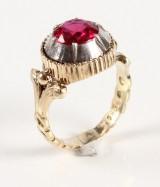 Lille rød ring Vintage ring, 14 kt gul og hvidguld