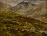 Monogramist, olja på pannå, landskap med får, England 1800-tal