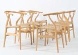 Hans J. Wegner. Six Wishbone chairs, model CH24, beech (6)