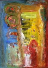 Ubekendt kunstner. Abstrakt komposition, olie på plade, 2000-tallet
