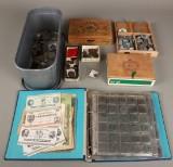 Mønter og sedler med sølvmønter og 10 øre 1959