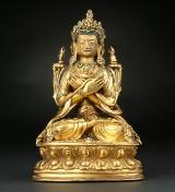 Boddhisatva af forgyldt bronze. Tibet, 1800/1900-tallet