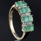 Smaragd og diamant ring