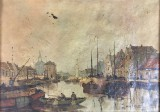 Herman C.A. Paradies, olie på lærred, havnescene