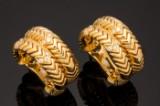 BVLGARI , mod. Spiga, creoles, 750 gold