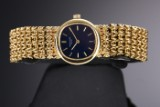 Vintage Patek Philippe Ellipse ladies' watch, 18 kt. gold, blue dial, 1970's