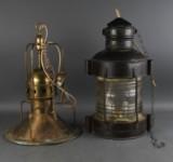 Lanterne og skibslampe af messing (2)