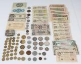 Samling diverse mønter og sedler, b.la 30x ½ kr, jubilæumsmønter, m.m.