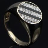 Onyx og brillant herre ring.