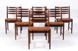Kai Lyngfeldt Larsen. Six chairs, rosewood and leather (6)