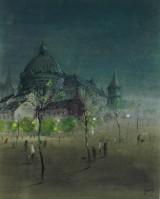 Jerzy René Groszang, akvarel og gouache på papir,'Katedra w nocy'