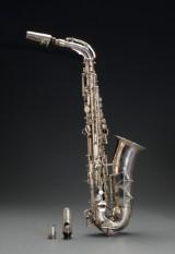 Atlantic S-Saksofon i original kasse med blåt indtræk.