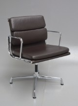 Charles Eames. Soft Pad armchair, model EA-208, dark-brown leather
