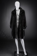Mink swing coat, black, size 40. Labelled Birger Christensen