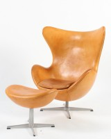 Arne Jacobsen. Lounge chair, The Egg, model 3316, with ottoman, model 3127 (2)