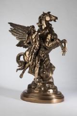 Perseus og Pegasus med Medusas hoved, figur, metal, bronzeret, efter udkast af Emile Louis Picault, græsk mytologi