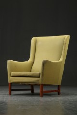 Ole Wanscher. Wing chair, wool and mahogany, A. J. Iversen