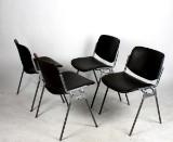 Giancarlo Piretti, staplingsbara stolar, Castelli, skinn 4 st