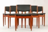 France & Søn. Six chairs, teak and leather (6)
