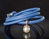 Brillantprydet South Sea perlevedhæng på læderarmbånd (2)