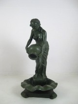 A bronze sculpture, erotic lady with jug