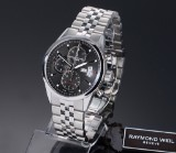 Raymond Weil 'Freelancer'. Men's chronograph, steel with black dial - box + certifcate 2017