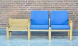 Sofabænk/bord af lakret bøg og uld
