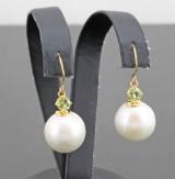 South sea pearl and peridot gold earrings .(2).