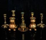 Samling ljusstakar, mässing (8)
