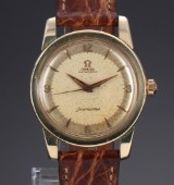 Omega 'Seamaster'. Vintage men's watch, 14 kt. gold with golden dial, c. 1956