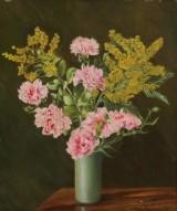 Marie Jørgensen. Blomstermaleri, olie på lærred
