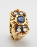 14kt sapphire and diamond ring approx.0.25ct  <br>