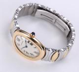 Cartier 'Baignoire'. Dameur i 18 kt. guld og stål med lys skive, 1990'erne