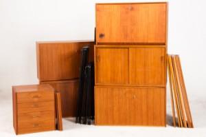 omnia m bel system regalsystem wandregal in teak ca. Black Bedroom Furniture Sets. Home Design Ideas