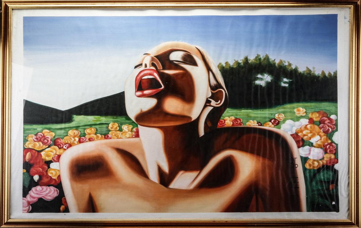 Ubekendt maler. Erotisk motiv, acryl på lærred - Ubekendt maler. Erotisk motiv, acryl på lærred. Kvinde på eng. 90 x 120 cm. (106x136). Indrammet bag glas