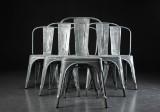 Xavier Pauchard for Tolix. Six chairs, galvanized metal (6)