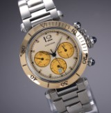 Cartier 'Pasha Chronograph'. Unisex watch in 18 kt. gold and steel, 2000s