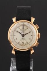 Breitling Chronograph. Vintage men's watch, 18 kt. rosé gold, 1940s