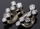 Georg Jensen. Cascade clip-on earrings, 18 kt. white gold, diamonds (2)