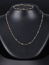 Diamant halskæde og tilhørende armbånd af 14 kt.