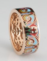 14kt multicolour emaille and diamond ring approx.0.08ct, by S.T.diamond