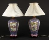 Par kinesiske bordlamper, porcelæn (2)