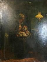 C. Koppenol, Ölgemälde auf Leinwand , Mutter beim Stillen