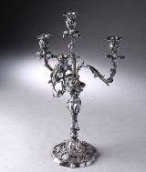 Pasotto. Italiensk kandelabre af sølv i rokoko-stil, 1900-tallets sidste halvdel