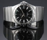 Omega Constellation men's watch, steel, black dial with date, c. 2010