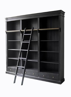 Bookcase Fully Painted Wood In French Country Style Black 5 Lauritz