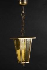 Deckenlampe, Laterne, Messing, Glas, 50er Jahre